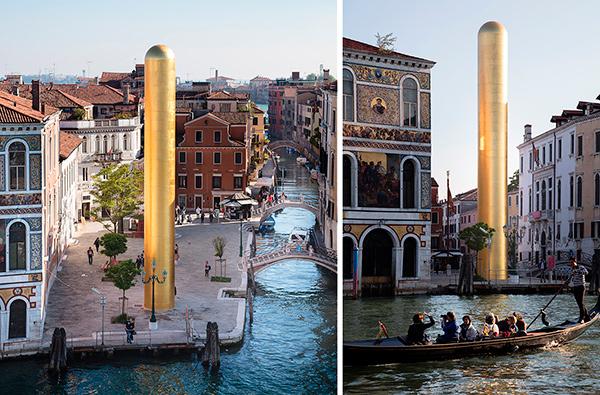 В Венеции установили 20-метровую золотую скульптуру