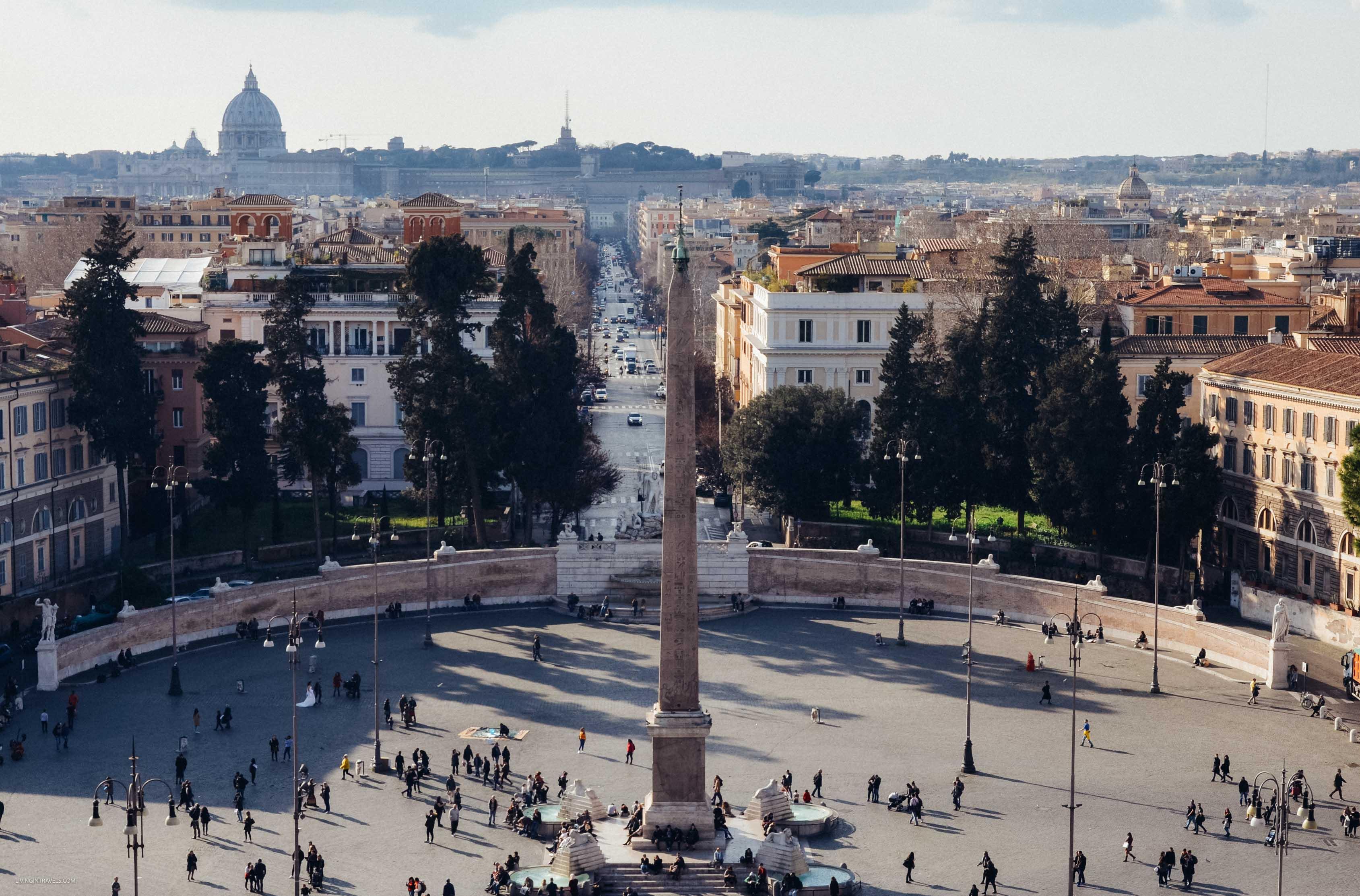 Вид на пьяццу дель Пополо с холма Пинчо. Рим для новичков или как увидеть город бесплатно (почти)