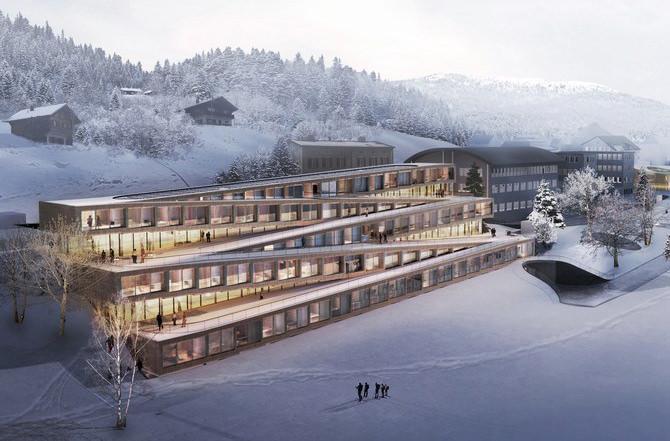 В Швейцарии откроют отель с лыжной трассой на крыше