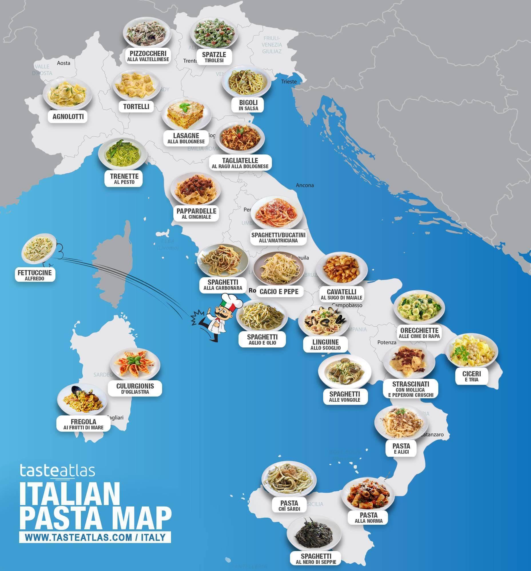 В сети появилась карта итальянской пасты по регионам