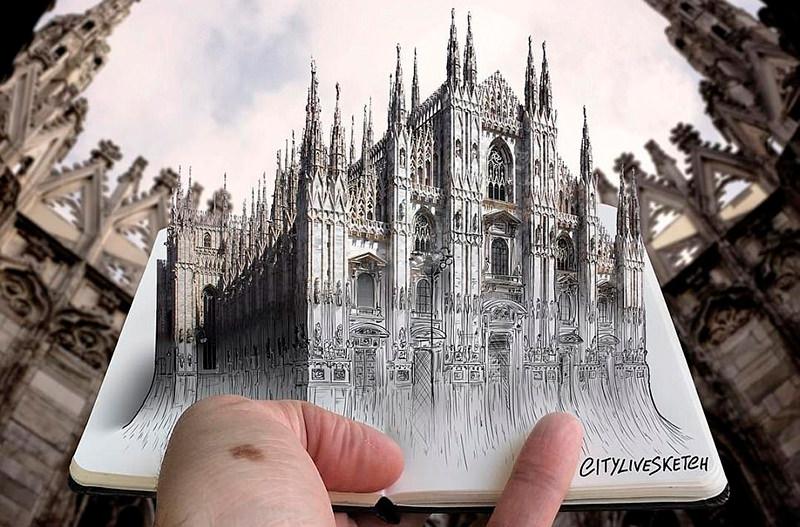 Художник создал 3D-эскизы известных достопримечательностей