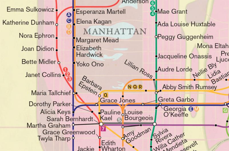 В Нью-Йорке создали карту метро с именами знаменитых жительниц